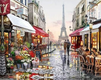DIY oil painting by numbers Eiffel Tower Landscape Frameless Paint by number On Canvas Wall Pictures for Living Room Wall Art Home Decor