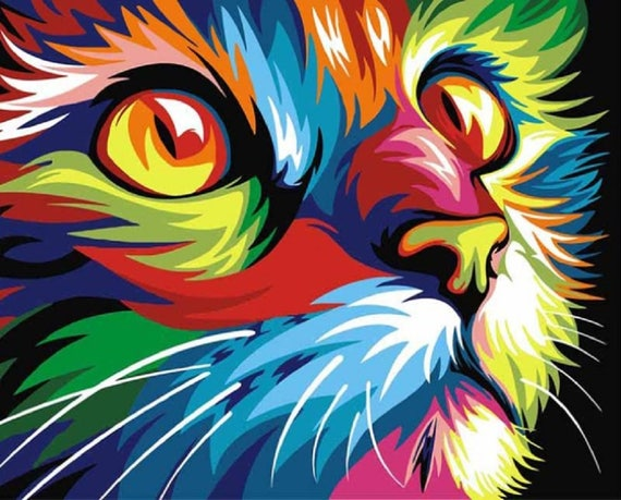 5D DIY Diamond Painting Colorful Cat Mosaic Cross Stitch Full Square Drill  3D Diamond Painting kit Sticker Home Decoration Gifts