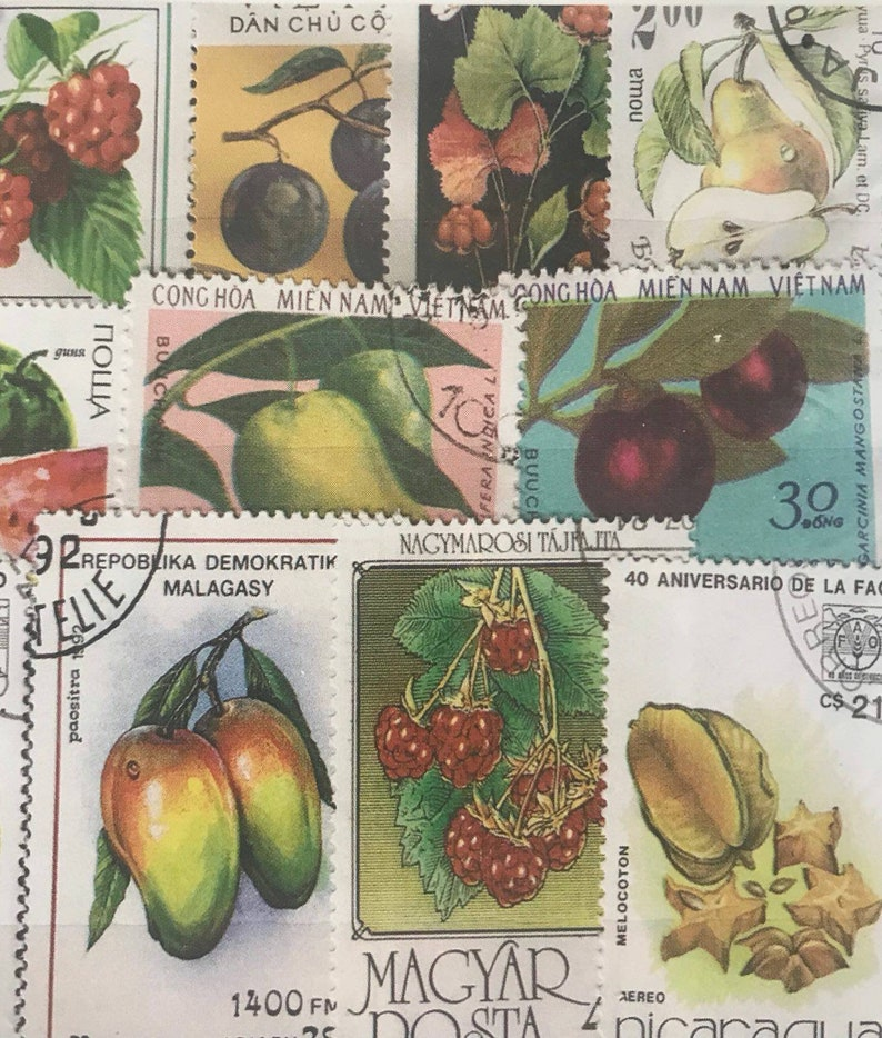 20/50/100pcs Mixed lot Used Fruits Collection assorted worldwide postage  stamps Many Colors Penpals, Scrapbooks, letter writing