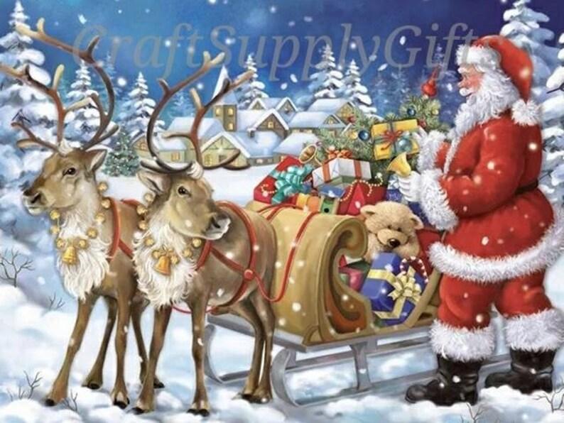 5D DIY Diamond painting Christmas Santa Claus   Sleigh Mosaic  ddbcc40bb