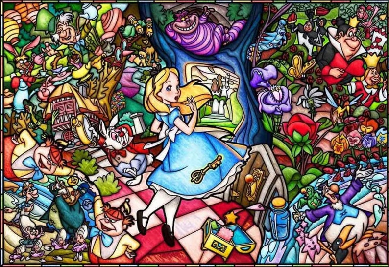 ad89982245 5D DIY Diamond painting Stitch Alice in Wonderland Mosaic | Etsy