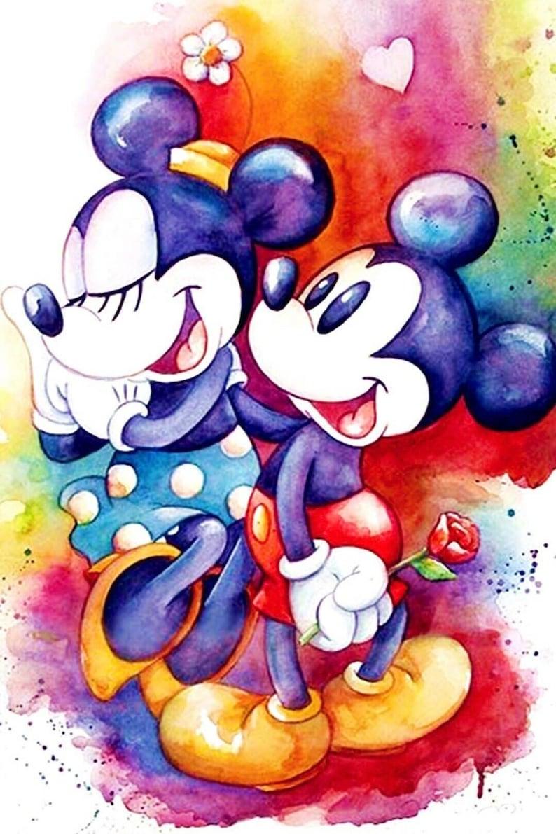 fe5d949f0b 5D DIY Diamond painting Disney Mickey & Minnie Mouse Mosaic | Etsy