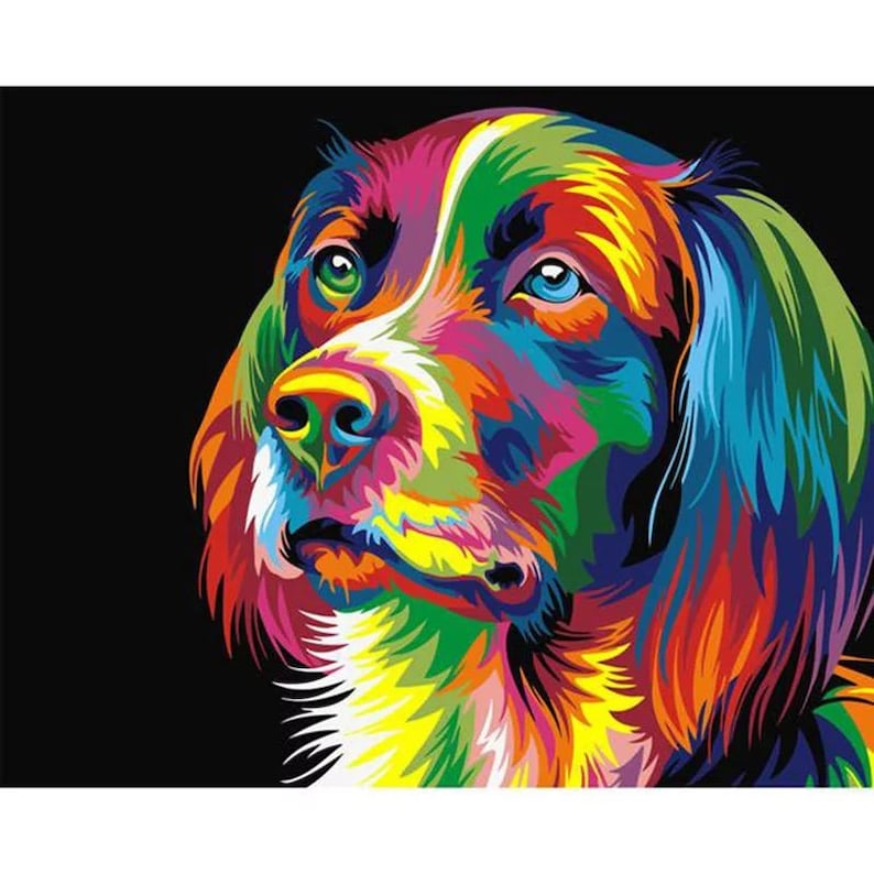 Oil Painting Dog Canvas Colorful Frameless Square living room home decor 4 sizes