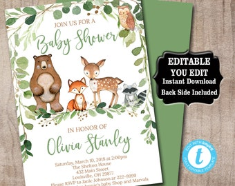 Woodland Baby Shower Invitation template, Editable Greenery Baby Shower invitation, Rustic woodland animals invitation Instant Download 0016