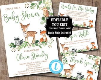 Woodland Baby Shower Invitation set, Editable Invitation Book for baby, diaper raffle thank you Woodland animal Baby Shower invite kit, 0018