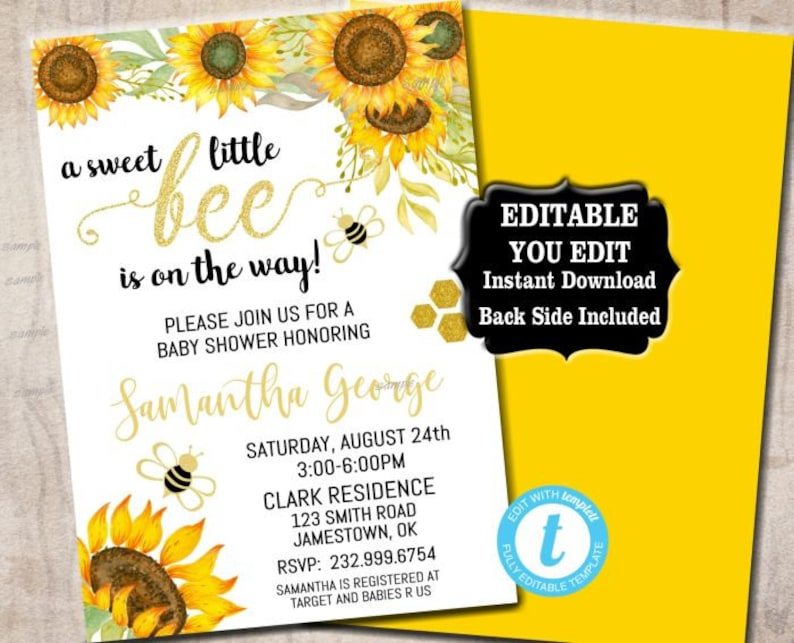 Bee Baby Shower Invitation Bumble Bee Baby Shower Bumblebee Etsy
