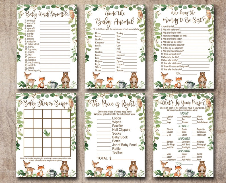 Woodland Baby Shower Game Package, 6 Printable forest animal Games,  Woodland game pack, Bingo, Scramble Party Pack Instant Download 0016