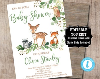 Editable Woodland Baby Shower Invitation template, Greenery Baby Shower invitation, Rustic woodland animals invitation Instant Download 0018