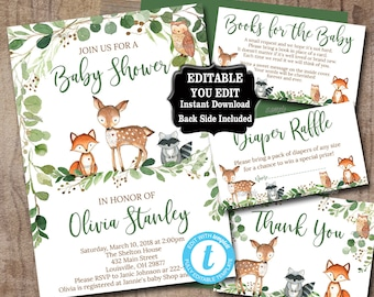 Greenery Woodland Baby Shower Invitation set, Editable Invitation Book for baby, diaper raffle thank you, Woodland animal invite kit, 0016