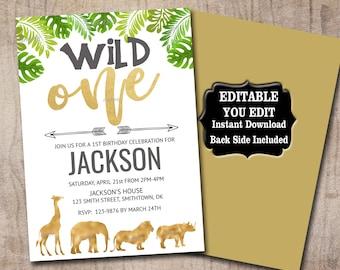 Safari Wild ONE Birthday Invitation template, Editable invite, Gold Jungle animals Birthday invite, 1st Birthday,  Instant Download 0022