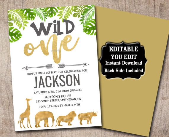 Safari Wild One Birthday Invitation Template Editable Invite Etsy