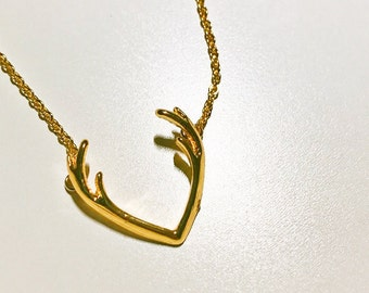 Deer Antlers Necklace, Gold and Silver