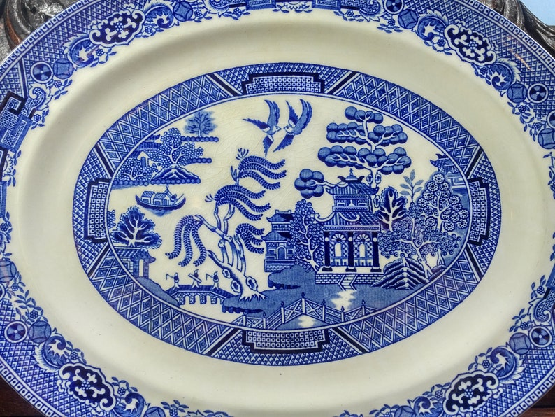Made in England 12-14 W.R Midwinter Ltd Blue Willow Porcelain Serving Plate Platter