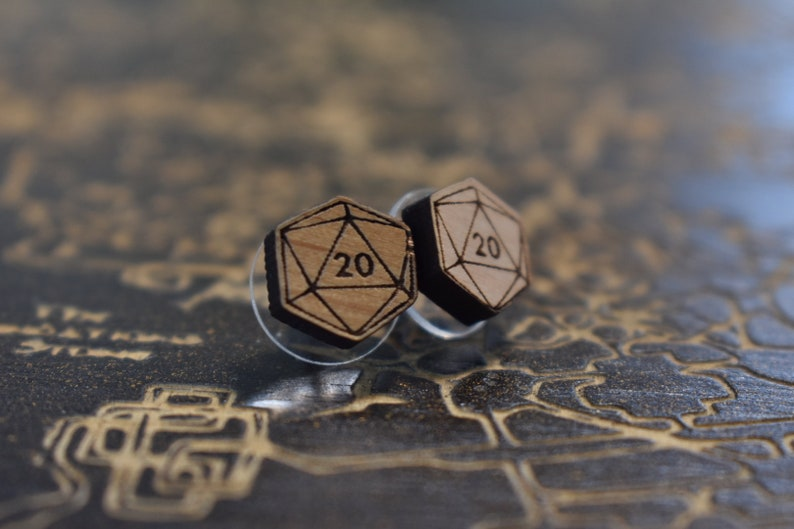 Critical Role Dungeon Master Earrings- Geeky Gifts Geek Earrings D20 Wood Earrings Dungeons and Dragons Polyhedral Dice Earrings