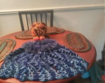 Blue multi-colored fur poncho