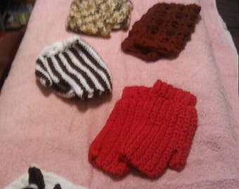 Fingerless gloves in red, burgundy, Mult-colored green, brown and white striped, and Dark green