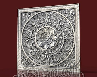 3D STL Model Wall Panel Mandala Decor for CNC Router Carving Machine Printer Relief Artcam aspire Cut3D  sc 1 st  Etsy : wall relief art - www.pureclipart.com