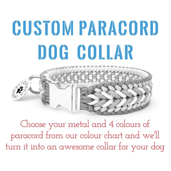 """SIDE RELEASE CUSTOMIZE YOUR OWN LARGE PARACORD DOG COLLAR W// 3//4/"""" METAL BUCKLE"""