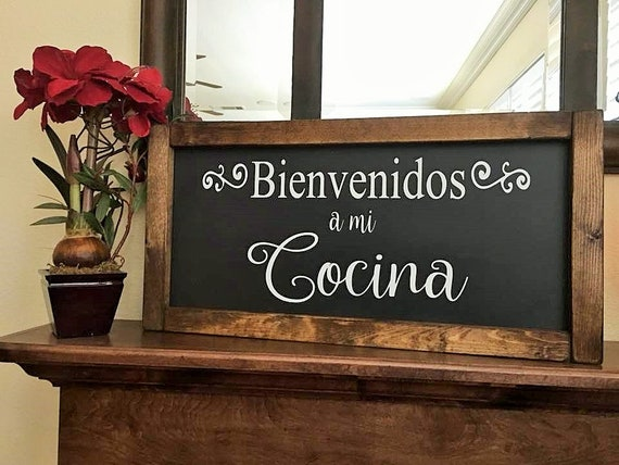 Spanish Home Decor12x24 Spanish Welcome Sign Wood Signs Etsy
