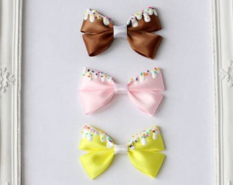 Ice Cream and Sprinkles Hair Bow Set - Brown, Pink and Cream