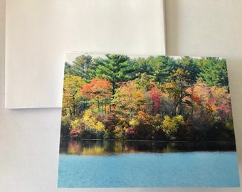 Autumn Trees Note Card Set, Note Cards, Blank Note Cards, Trees on Lake Photo, Thank You Cards, Nature Photography