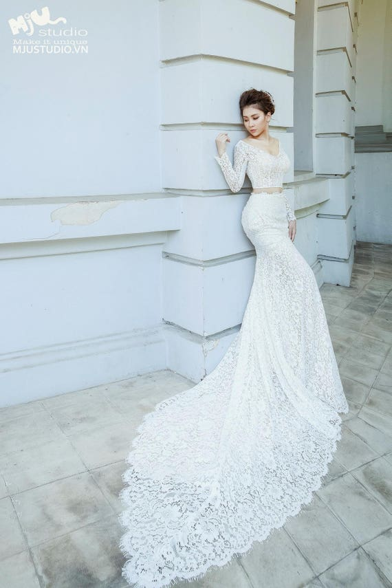Zenbridal Modern Two Piece Form Fitting Lace Wedding Dress With Chapel Train