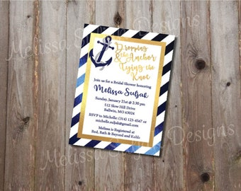 Nautical Bridal Shower Invite, Dropping the Anchor, Tying the Knot, Destination Wedding