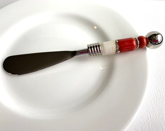Stone Beaded and Pearl Handled Appetizer or Cheese Spreader 6.5 Inch