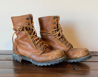 US 7.5 Leather Vintage Trekking Boots Chunky Sole 80s Brown Columbia Hiking Trail Boots Outdoors Footwear Mountaineering Boots EUR 38 UK 5
