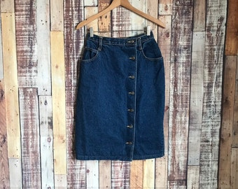 20c7b15b4 80's Vintage Denim Skirt, Vintage Button Fly Denim Skirt, Vintage 80's Side  Button Fly Denim Skirt