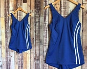 1960 39 s One Piece Swimsuit, Vintage Royal Blue and White One Piece Union Made Swimming Suit