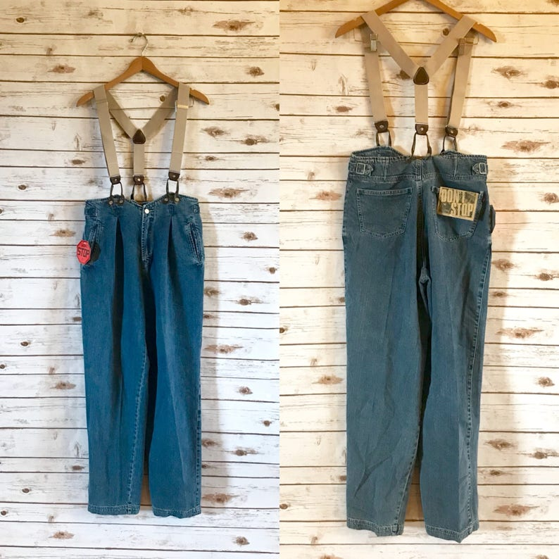 58ee56bbdc9 80 s Don t Stop Jeans with Suspenders NOS Vintage DS