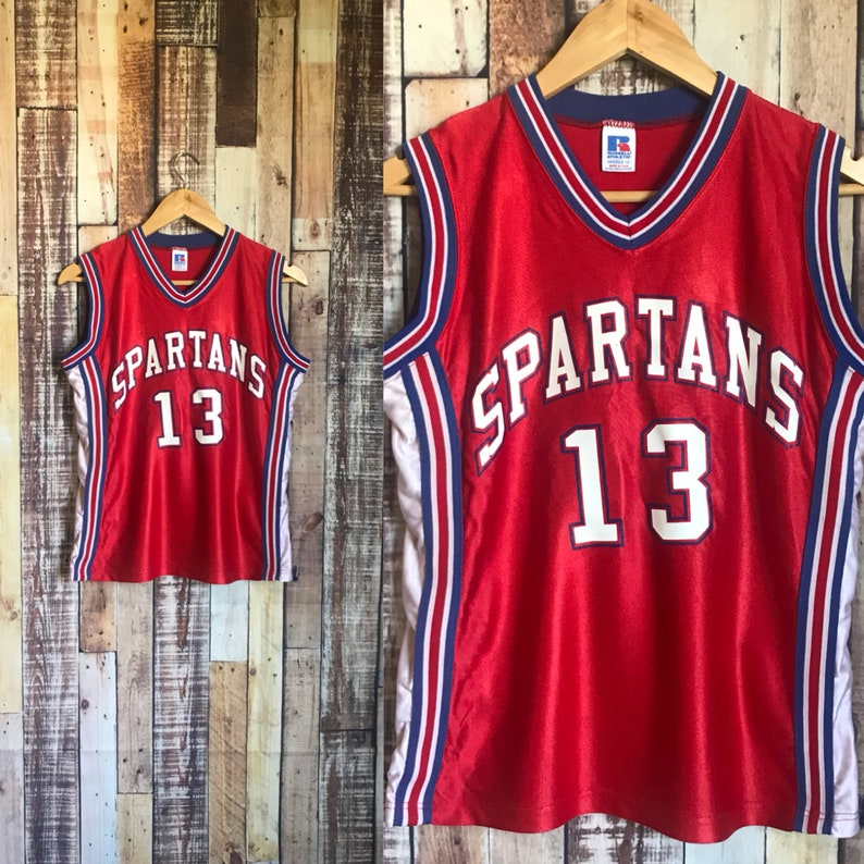 official photos 80b61 874ef Vintage Basketball Jersey, Vintage Spartans #13 Womens Basketball Jersey,  Vintage Red Spartans Basketball Jersey No.13