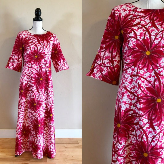 Vintage Hawaiian Luau Dress, 1960's Traditional Lu