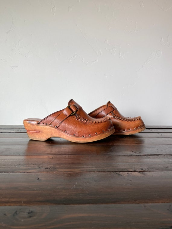 70's Wood and Leather Clogs, Vintage Wooden Clogs,