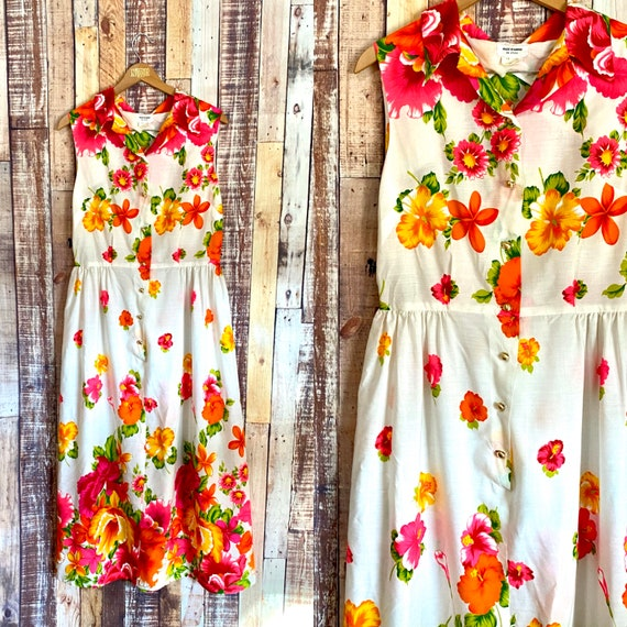 Vintage Hawaiian Luau Dress, 1970's Light Cotton H