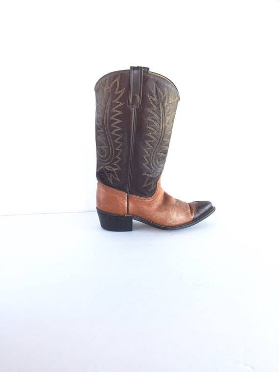 70's Acme Dingo Two Toned Leather Cowboy Boots USA