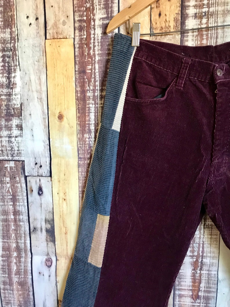 Retro Modern Wide Leg Patchwork Corduroy Pants 70/'s Wide Leg Corduroy/'s Vintage Bell Bottom Patchwork Corduroy/'s 36 x 29