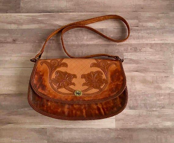 Vintage Hand Tooled Leather Handbag, Vintage Toole