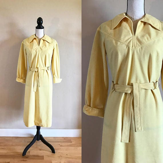 70's Nelly Don Belted Dress, Vintage Cheery Yellow