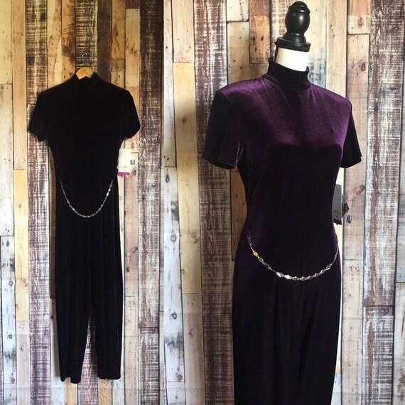 Vintage Velvet Jumpsuit, 80's NOS Purple Velvet Ju