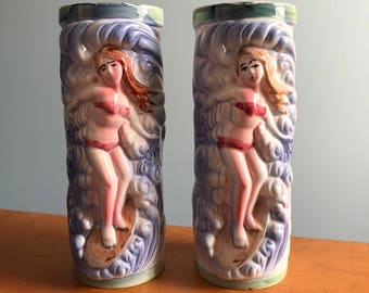 Pair of Vintage Surfer Girl Tiki Mugs - Orchids of Hawaii R-80A