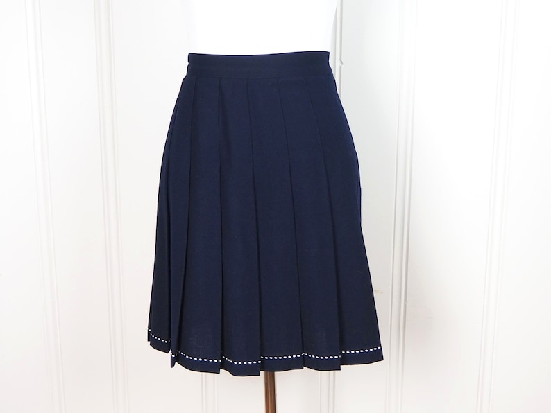 6732b98e4 Vintage Navy Pleated Skirt / 80s Wool Skirt with Stitching | Etsy
