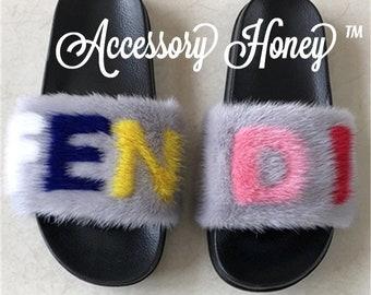 b8f0e96a1138b3 Custom Fluffy Mink Fur Slide Sandals