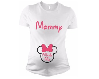 2e94cd6ceae10 Disney Maternity, Mommy & Minnie Me - Minnie Mouse Disney - Maternity t  shirt, maternity tank, plus size - pregnancy announcement, mom gift