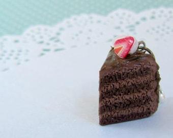 Chocolate cake charm - polymer clay charms - clay charm - polymer clay jewelry - stitch markers - dessert jewelry - clay cake charm