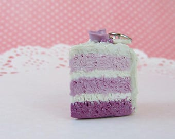 Purple ombre cake charms - polymer clay charms - clay charm - polymer clay jewelry - stitch markers - dessert jewelry - clay cake charm