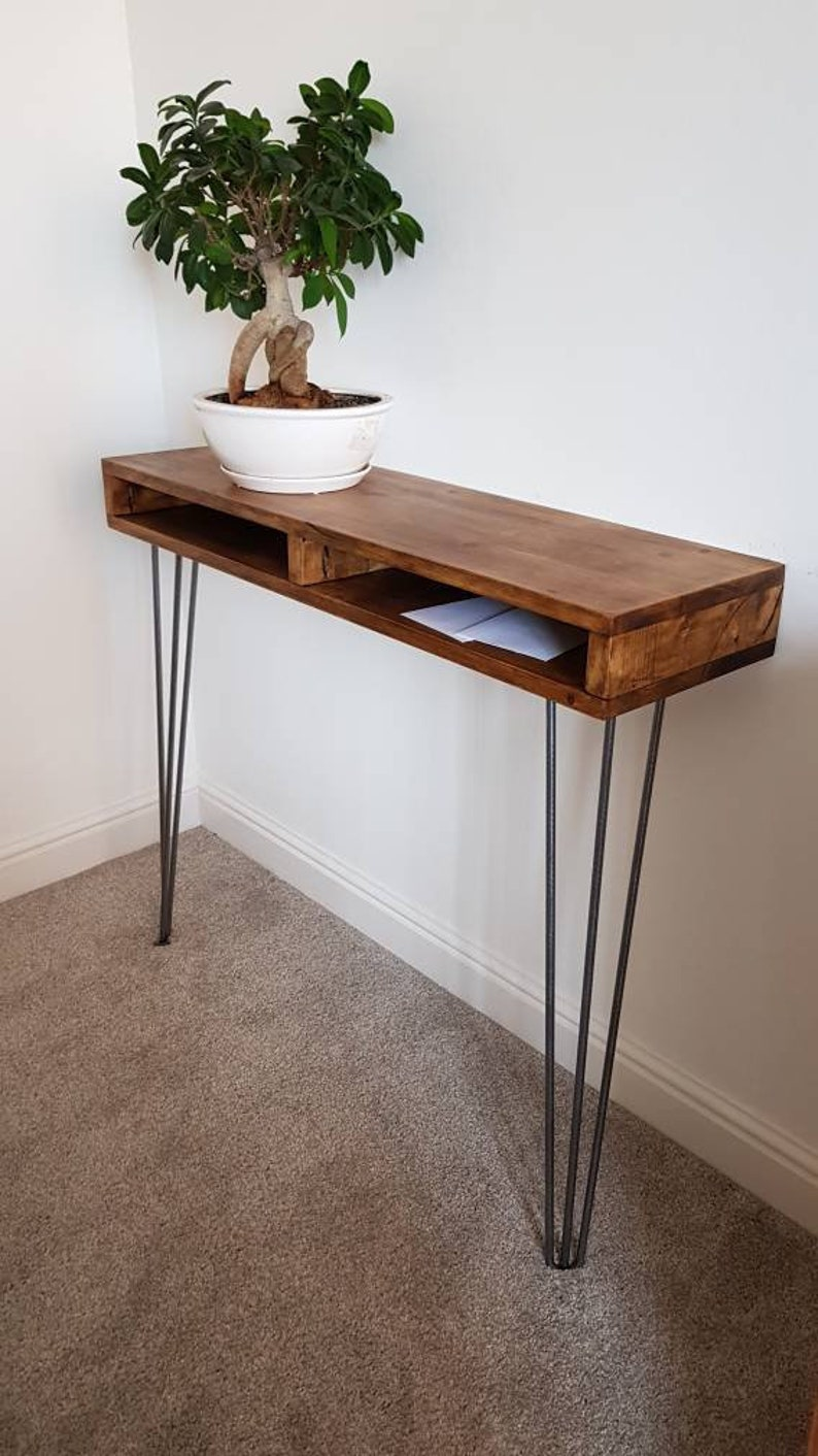 sneakers for cheap ce4c5 74437 Narrow Hallway Console Table - Hairpin Legs- Rustic Table - Side Stand -  Retro - Bespoke - Standing Hallway Desk