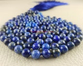 Lapis Lazuli Mala Necklaces for Women Men, 108 Mala Necklace, Hand Knotted, Long Necklace, Yoga Meditation Jewelry, Tassel Necklaces 3976