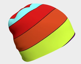 Retro Striped Beanie Cap Hat